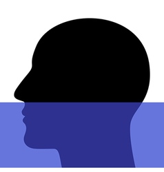 A silhouette of a head underwater vector