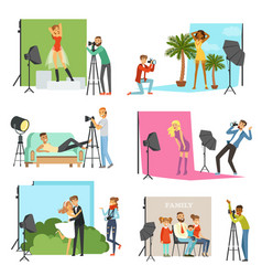 Photographers taking pictures of different people vector