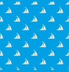 Sailing ship pattern seamless blue vector