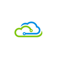 cloud technology digital logo vector image