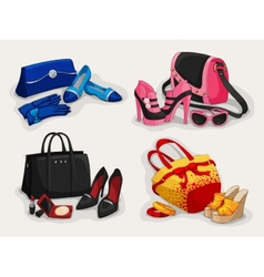 Collection of women bags shoes and accessories vector