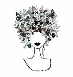 floral hairstyle woman vector image