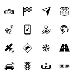 black navigation icons set vector image