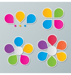 Paper flower infographics vector