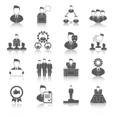 Executive icons black vector