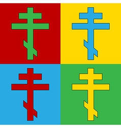 Pop art religious orthodox cross icons vector