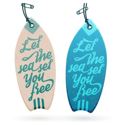 Surfboard shaped hang tags vector