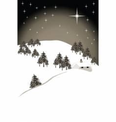 Christmas scene sepia vector image