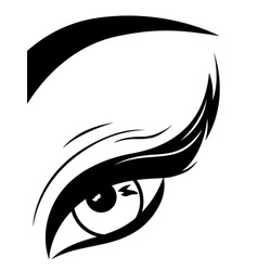 Eye with fluffy eyelid close-up vector