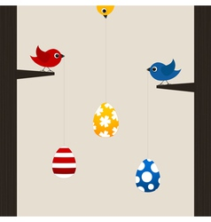 Birds hold easter eggs vector