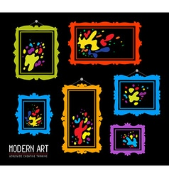 Set of color rectangular frames with colo vector