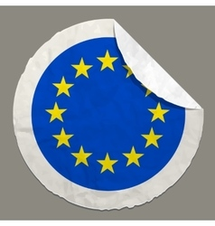 European flag on a paper label vector