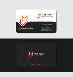 black business card with letter m and home symbol vector image vector image