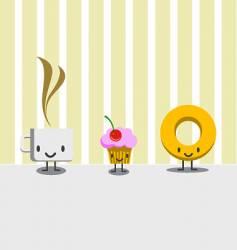 breakfast characters vector image vector image