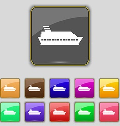 Cruise sea ship icon sign set with eleven colored vector