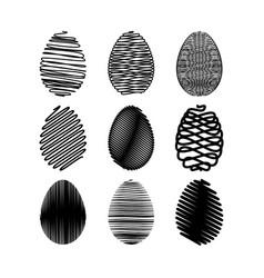 easter egg set black scribble effect on vector image