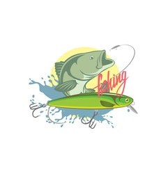 fishing bass vector image vector image