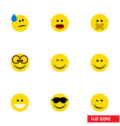 Flat icon emoji set of happy joy hush and other vector