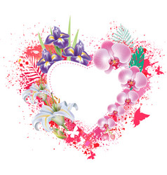 greeting card with flowers and butterflies vector image