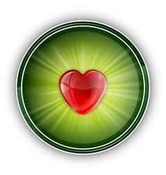 heart symbol round green vector image