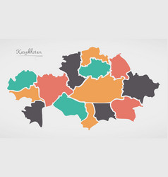 Kazakhstan map with states and modern round shapes vector