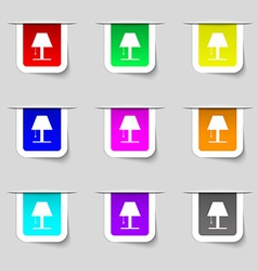Lamp icon sign Set of multicolored modern labels vector image