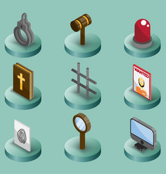 law color isometric icons vector image vector image