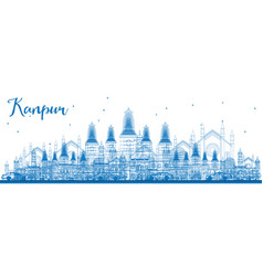 Outline kanpur skyline with blue buildings vector