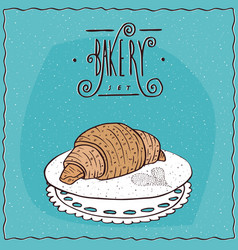 Perfect croissant lie on lacy napkin vector