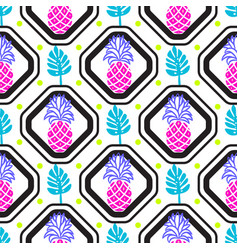 Pineapples and leaves in rhombuses geometric tile vector