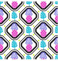 pineapples and leaves in rhombuses geometric tile vector image