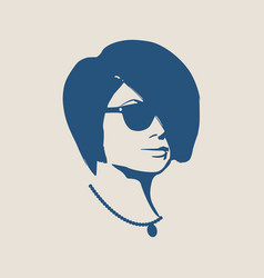 portrait of beautiful woman in black sunglasses vector image