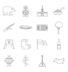 Russia icons set outline style vector