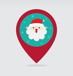Santa christmas flat pin map icon vector