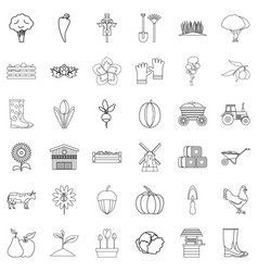 seed icons set outline style vector image