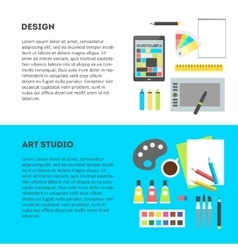 Set horizontal banners workplace of designer with vector image vector image