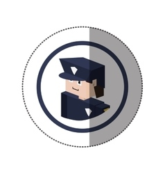 Sticker lego with portrait policeman vector