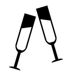 Two glasses of champagne icon simple style vector image vector image