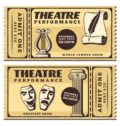 Vintage theatre performance horizontal tickets vector