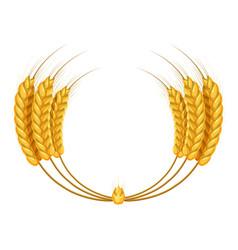 Wheat ears wreath icon cartoon style vector