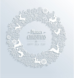 White Merry Christmas and Happy New Year 3d white vector image