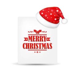 Xmas blank gift tag with santa claus cap vector