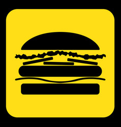 yellow black information sign - hamburger icon vector image vector image