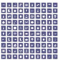 100 garden icons set grunge sapphire vector