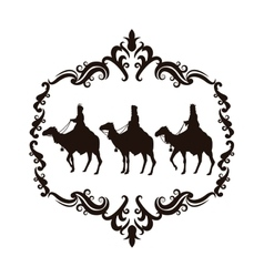 Wise man camel holy family christmas design vector