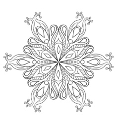 Zentangle elegant snow flake ornamental winter for vector