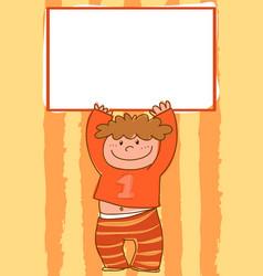 Cartoon boy holding empty sign vector