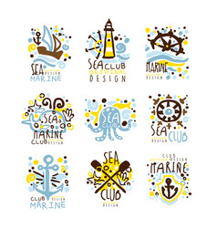 Sea club marine club set for label design yacht vector