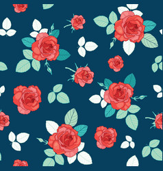 Vintage red roses and leaves on navy blue vector