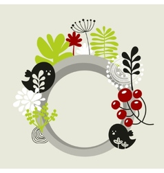 Round banner with spring nature vector